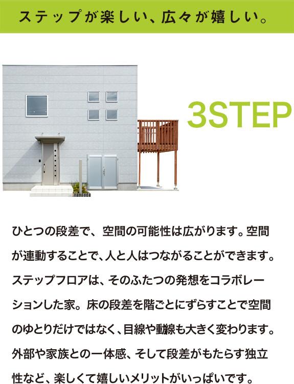 シンプルな四角い外観 住む方の生活に馴染むよう、シンプルでムダを削ぎ落とした四角い家。凹凸のないレイアウトで、室内も広々した空間を実現。