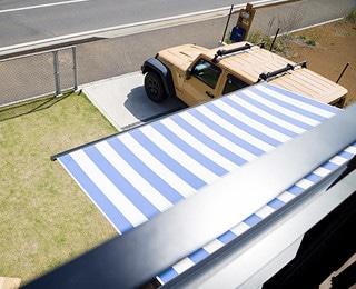 ZERO-CUBE MALIBU(ゼロキューブ マリブ)千葉県K様邸 ストライプ柄オーニング